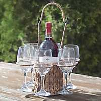 Water Hyacinth Wine Tote with Glasses