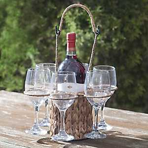 Water Hyacinth Wine Tote with Glasses, Set of 7
