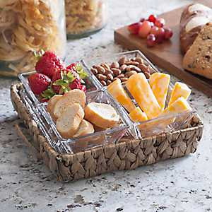 Water Hyacinth 4-Section Serving Tray
