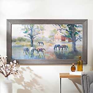 Daybreak on the Farm Framed Canvas Art Print