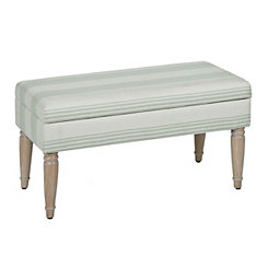 Seafoam Stripe Storage Bench