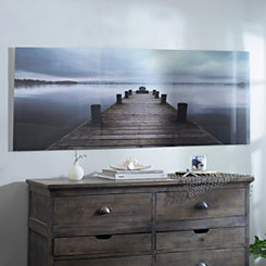 Gray Sky Dock Glass Art Print