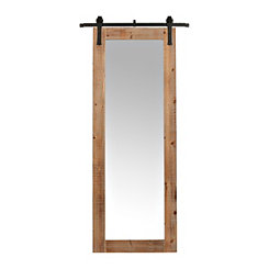 Faux Barn Door Rolling Wall Mirror