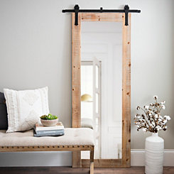 Faux Barn Door Rolling Wall Mirror