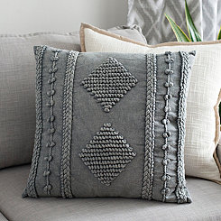 Gray Janika Embroidered Pillow