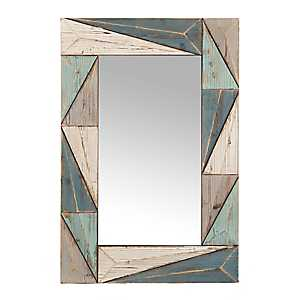 Blue Toned Rustic Wooden Wall Mirror