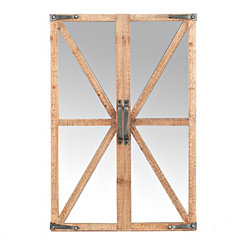 Cross Frame Wooden Door Wall Mirror