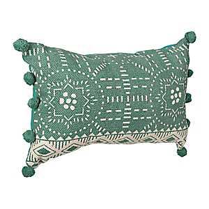 Aqua Woodblock Print Pom Pom Accent Pillow
