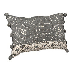 Gray Woodblock Print Pom Pom Accent Pillow