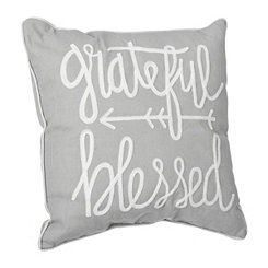 Gray Grateful and Blessed Embroidered Pillow