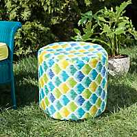 Blue and Yellow Ogee Round Outdoor Pouf