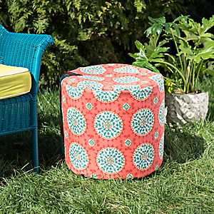Spice Medallion Round Outdoor Pouf