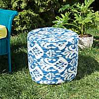 Blue Ikat Round Outdoor Pouf