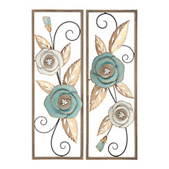 Blue Floral Metal Wall Plaques, Set of 2