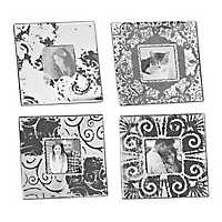 Gray Scroll Picture Frames, Set of 4
