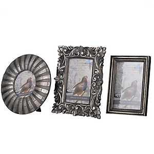 Ornate Silver Picture Frame Set, Set of 3