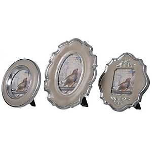 Scalloped Silver Picture Frame Set, Set of 3
