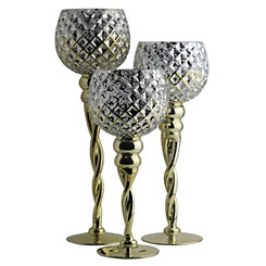 Gold Checkered Glass Charismas, Set of 3