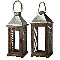 Wood and Metal Shutter Lanterns, Set of 2