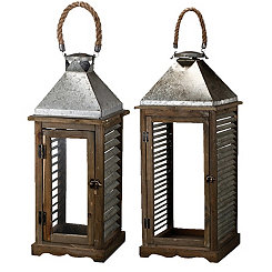 Wood and Metal Shutter Lanterns, Set of 2