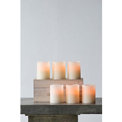 Ivory 4 in. LED Pillar Candles, Set of 6