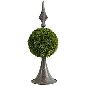 Brown Metal Boxwood Topiary, 17 in.