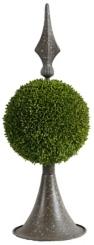 Brown Metal Boxwood Topiary, 17 in.