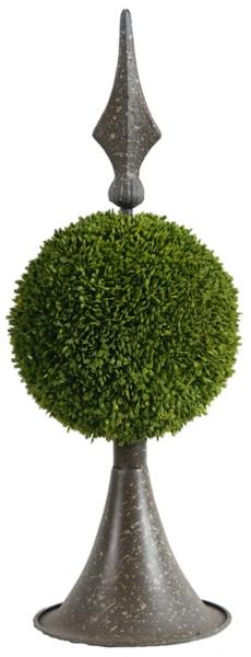 brown metal boxwood topiary 17 in