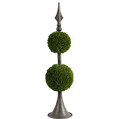 Brown Metal Boxwood Topiary, 26.5 in.