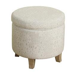 Round Ivory Storage Ottoman