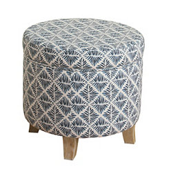 Round Blue Diamonds Storage Ottoman