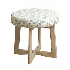 Green and White Cross-Legged Mini Stool