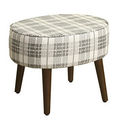 Black and White Gingham Round Stool