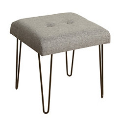 Gray Button-Tufted Square Stool