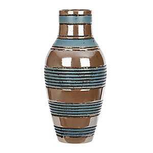 Distressed Blue and Brown Stripe Ceramic Vase