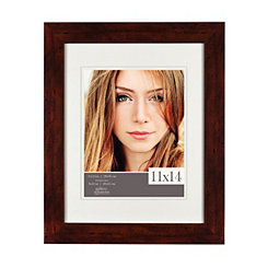 White Airfloat Mat Walnut Picture Frame, 11x14