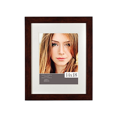 White Airfloat Mat Walnut Picture Frame, 14x18