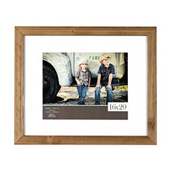 White Mat Rustic Wood Picture Frame, 16x20