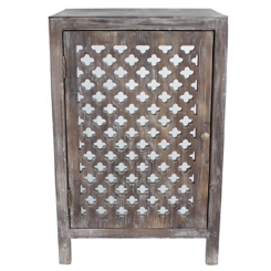 Distressed Gray Quatrefoil Cabinet Side Table