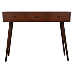 Mid-Century Three Drawer Console Table