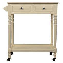 Ivory Rolling Two Drawer Bar Cart