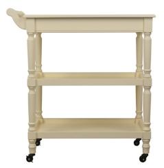 Ivory Rolling Open Storage Bar Cart