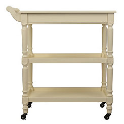 Ivory Rolling Open Storage Bar Cart