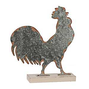 Galvanized Metal Rooster Figurine