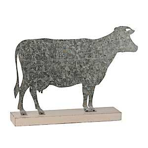 Galvanized Metal Cow Figurine