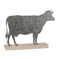 Galvanized Metal Cow Figurine
