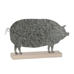 Galvanized Metal Pig Figurine