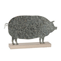 Galvanized Metal Pig Figurine