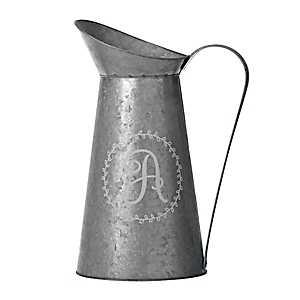 Galvanized Metal Monogram A Pitcher Vase