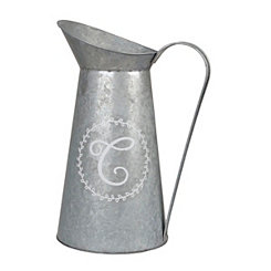Galvanized Metal Monogram C Pitcher Vase